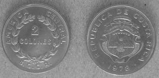 2x$6.000 Monedas Costa Rica De 2 Colones De 1978