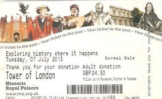 Ingresso Ticket Torre De Londres Inglaterra Inteiro 2015.