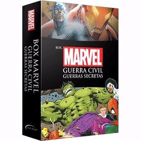 Box Marvel Guerra Civil + Guerras Secretas 2 Livros + Pôster