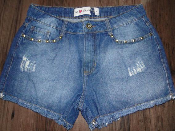 Shorts Jeans Spike E Franja Tam 42! Queima De Estoque