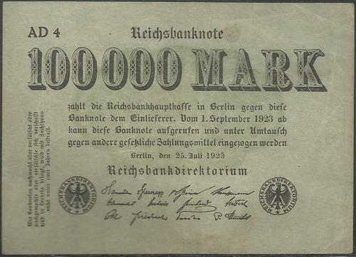 Alemania 100.000 Mark 25 Jul 1923 P91a