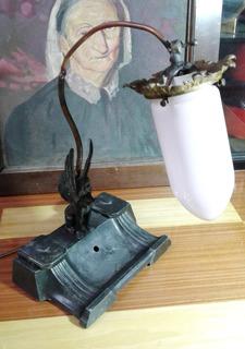 Antigua Escribanía De Peltre Electrificada Para Su Uso