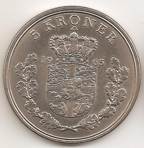 Dinamarca, 5 Kroner, 1965. Casi Sin Circular
