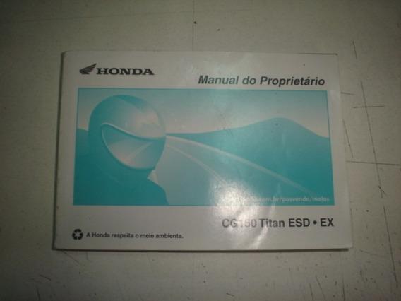 Manual Moto Honda Cg 150 Titan Esd Ex 2012 2013 Livreto