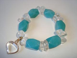 Pulseira Elástica Pedra Natural Cristal E Jade Amazonita