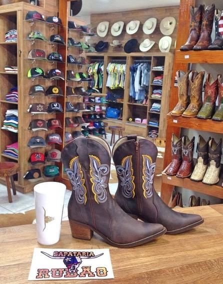 Bota Country Feminina Texana Bico Fino Cano Médio Top