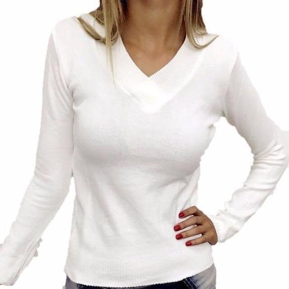Blusa De Frio Feminina Casaco Cardigan Lã Trico Liso Gola V