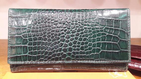 Billetera Dama Cuero Vacuno Croco Guns Leather