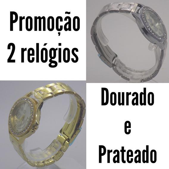 Kit 2 Lindos Relógio Feminino Dourado E Prateado Promoção