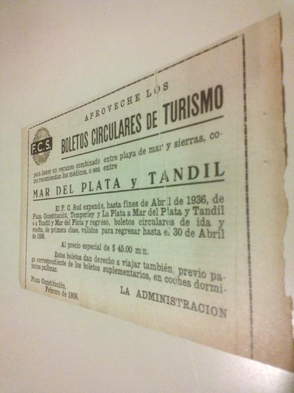 Antigua Publicidad Ferrocarril Sud Tren Mar Del Plata Tandil