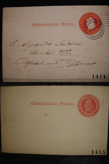 2 Memorandum Postal 5 Centavos 1 Circulado 1 S/circular
