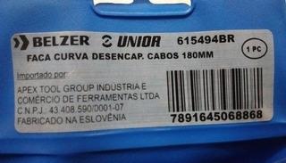 Faca Curva Desencapadora De Cabos 180mm Belzer