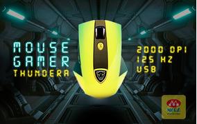 Mouse Gamer 2000 Dpi Dazz Thundera 8ms 125 Hz Preto Amarelo