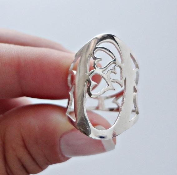 Anel Coração Vazados Em Prata 950