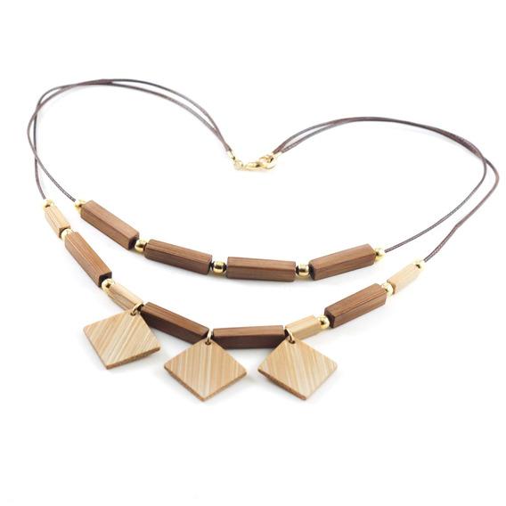 Mosaico - Colar Artesanal Em Bambu E Ouro - Biojoia