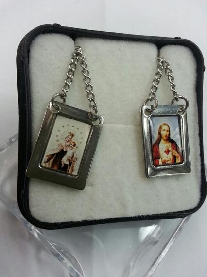 Escapulário Quadrado Em Inox Nossa Senhora Carmo E Jesus Cor