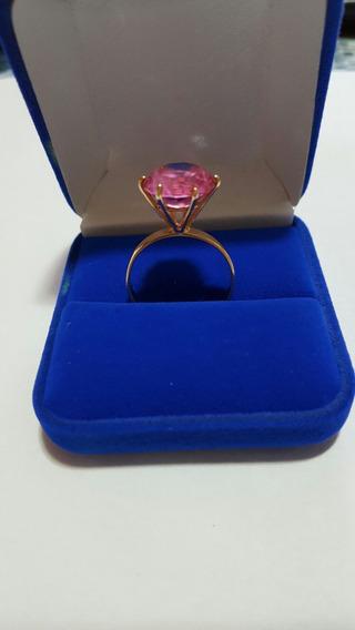 Solitário Pedra Rosa - Ouro 18