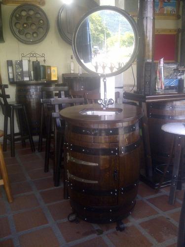 Mueble Para Bar Tascas Lava Copas Madera D Barril O Barrica