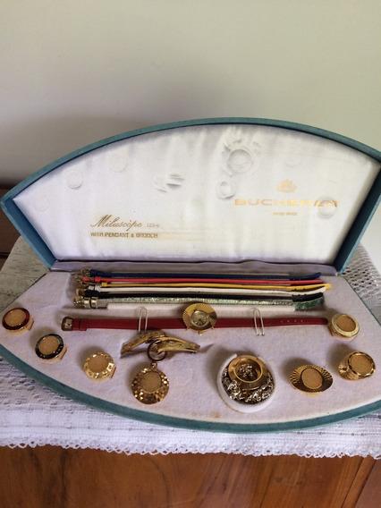 Relógio Suíço Bucherer- Banho Ouro-6 Pulseiras-9 Frentes