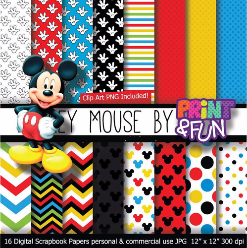 Kit Imprimible Pack Fondos Mickey Mouse Clipart Cod 3
