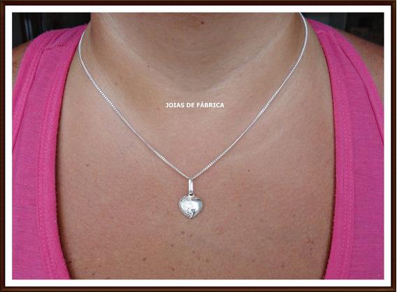 Cordão, Corrente,gargantilha Com Coração Em Prata 950