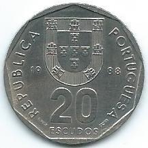 Moneda De Portugal 20 Escudos 1988 Muy Buena