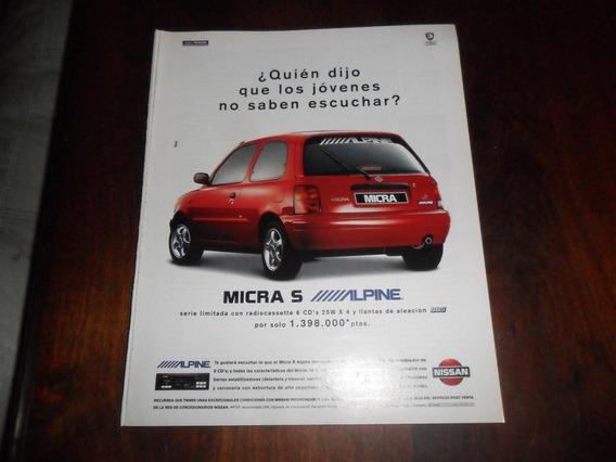 Publicidad 1996 Automovil Nissan Micra S Alpine