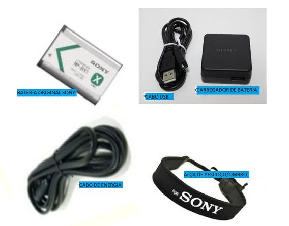Kit Bateria Sony Np-bx1 C/ Carregador+alça+cabos Originais