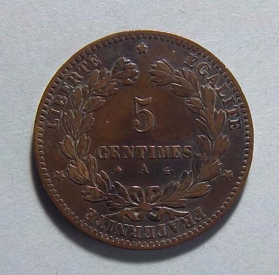 Francia 5 Centimes 1878 A (paris) Ex Km 821.1 La Más Escasa