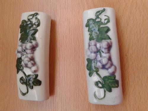 Par Sosten Servilletas De Ceramica Con Uvas, Impecables!!!