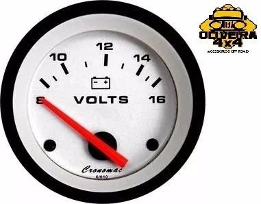 Voltímetro Bateria 12v Street Branco 60mm Led Cronomac
