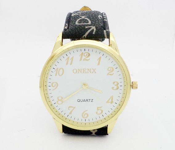 Relógio Feminino Onenx Preto, Pulseira De Couro Detalhada