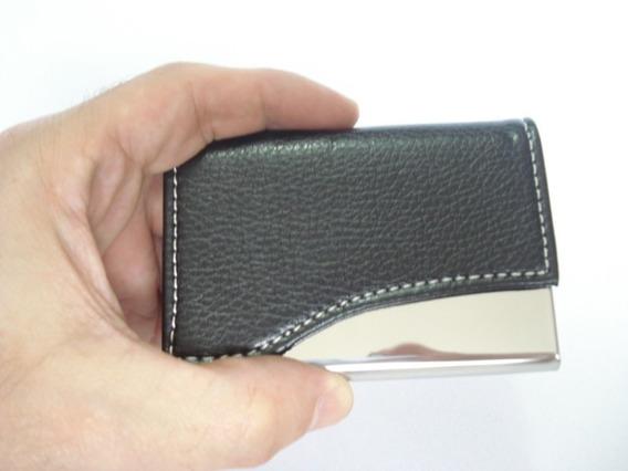 Porta Cartão De Visitas Couro Inox