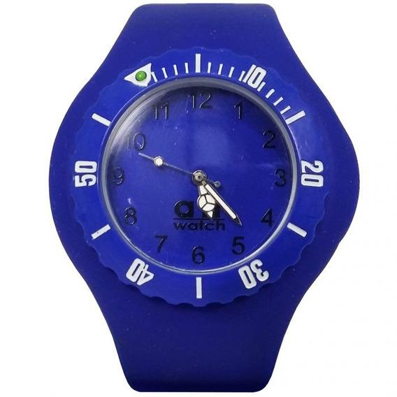 Relógio Pulso Air Watch Com Pulseira Azul De Silicone M1