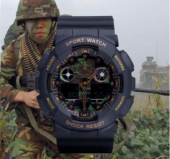Relógio Led Sanda Digital Camuflado Militar S Shock Exército