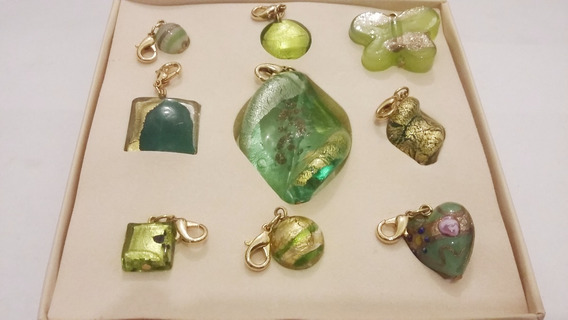 9 Dijes-cristal Murano- Color Verde