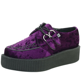 Creepers Morados Terciopelo Tuk A8820 Demonia New Rock Punk