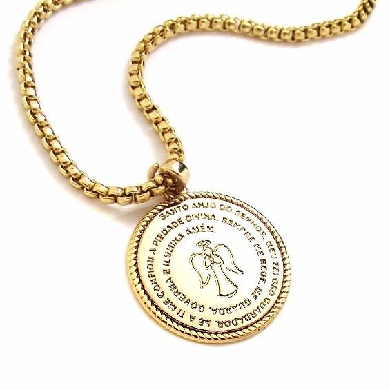 Colar Unissex Oração Santo Anjo Pingente Medalha Com Caixa