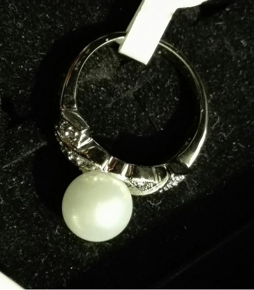 Anillo De Plata 925 Perla Y Zirconias
