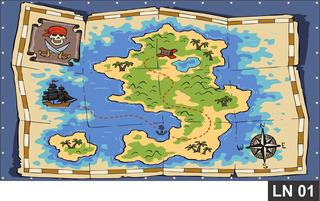 Painel De Festa Aniversário Mapa Do Tesouro 3,00x1,40m