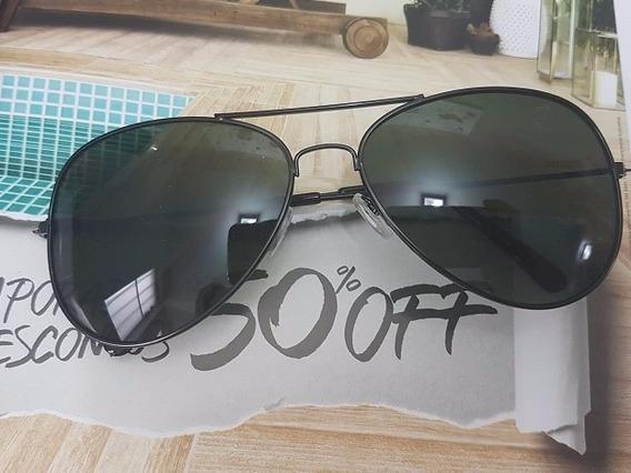 Óculos De Sol Modelo Aviador Preto Lente Preta Unissex