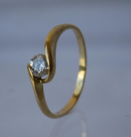 Anel Solitário Ouro Brilhante 15 Pontos Aro 12 - (066)