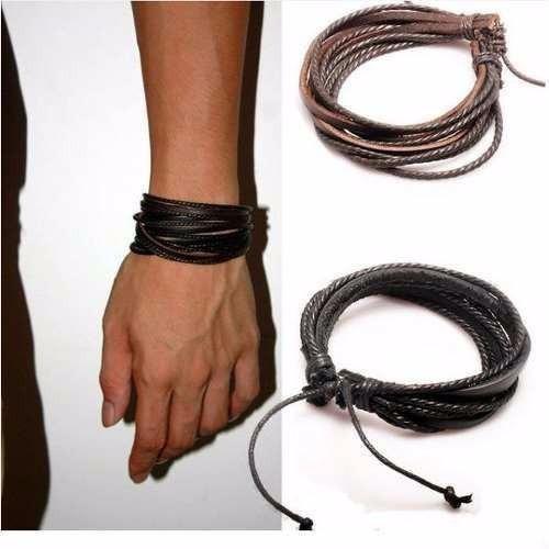 Pulseira Masculina Feminina Couro Legítimo Bracelete Tribal