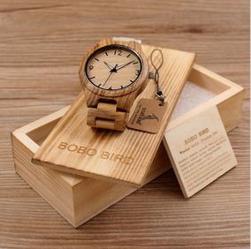 Relógio Quartzo Bobo Bird Bambu Madeira Zebrado Cx Original