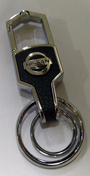 Chaveiro Mosquetão Couro Liga Metal Nissan Forte Jn