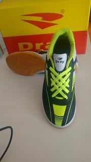 Tenis Futsal Dray Novo Cor Preto Com Verde Limao