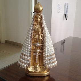 Nossa Senhora Aparecida Dourada, 30cm, Perolas Bege ,strass