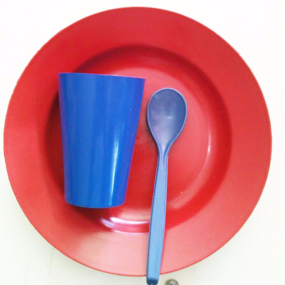 Kit Escolar Merenda Prato Copo Colher De Plastico C/100 Kits