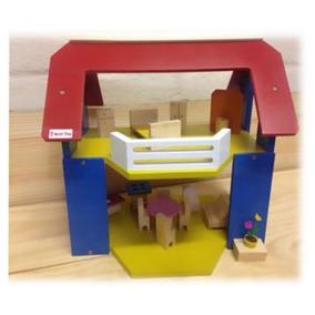 Casa De Boneca Madeira Com Varanda - Wood Toys