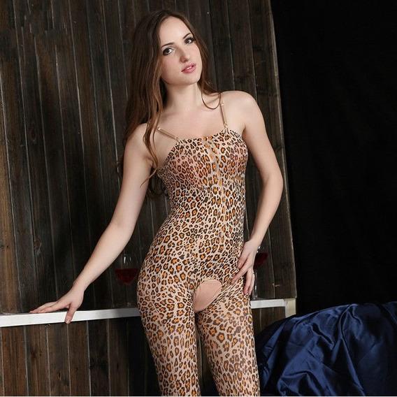 Body Lingerie Erotico Sexy Estilo Leopardo Vem Amor